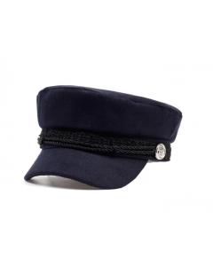 Donkerblauwe flanellen sailor pet