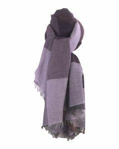 Fijn geweven sjaal met kleurvlakken in lila en paars