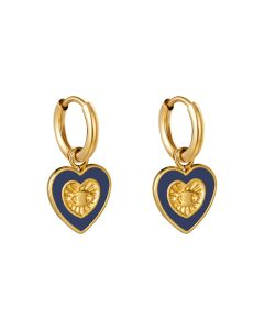 Oorbellen met hartvormige bedel in goud en blauw