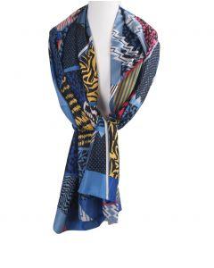 Blauwe zijde-blend sjaal met diverse dierenprints
