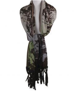Wolblend sjaal in pistachegroen met lichtblauw