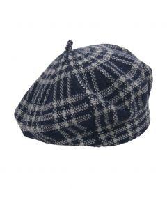 Fijngebreide donkerblauwe baret met ruit