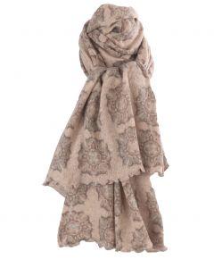 Beige kasjmiermix sjaal met ornament print