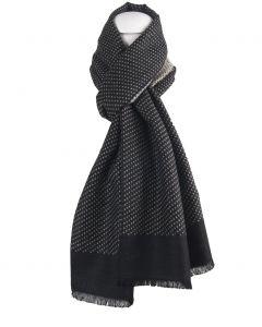Zwarte zachte wol-blend sjaal met lichtbeige stippen