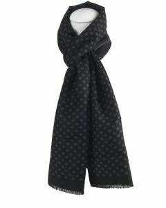 Zwarte zachte wol-blend sjaal met ruitvorm in grijs