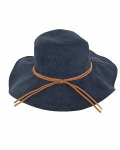 Donkerblauwe suèdine hoed