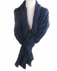 Grote donkerblauwe sjaal met geboorduurde stippen