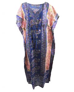 Kaftan in kobaltblauw met mixed design en V-hals