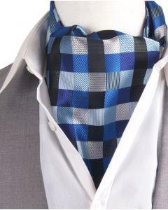 Set met cravat + pochet in blauw-tinten