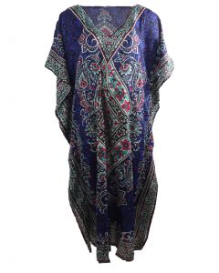 Rode kaftan met mixed design in hardroze
