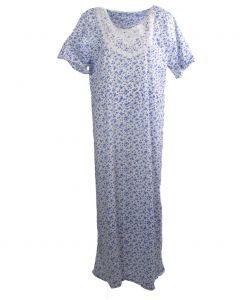 Lange maxi jurk met bloemenprint in blauw