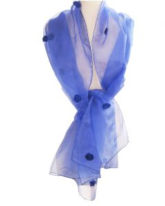 Jeansblauwe organza stola met roosjes