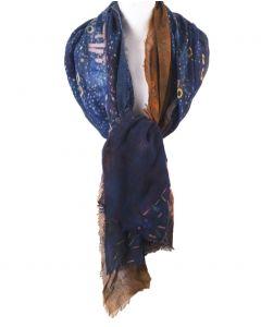 Wollen mousseline schilderij-sjaal met ''Portrait of Emillie floge'' van Gustav Klimt
