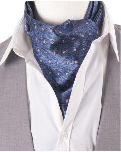 Kobaltblauwe-grijs gemêleerde cravat met paisley print