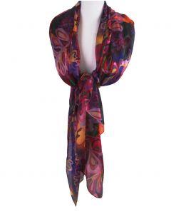 Zijden sjaal/stola met kleurrijke bloemenprint