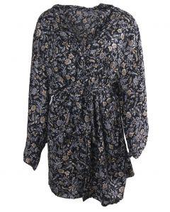 Korte zwarte zijden kimono met bloemenprint