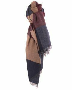 Fijn geweven sjaal met kleurvlakken in beige en blauw
