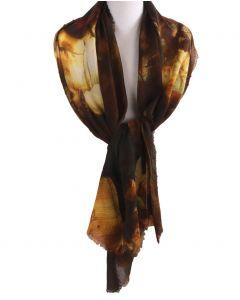 Wollen mousseline schilderij-sjaal met afbeelding van '' De nachtwacht''