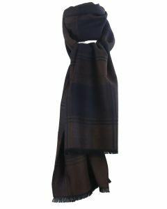 Zachte wol-blend sjaal met ruiten in bruin en zwart