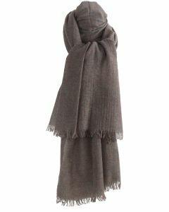 Gemêleerd geweven sjaal in taupe van 100% kasjmier