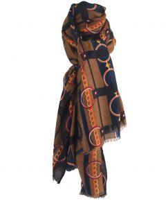 Camelkleurige sjaal met ceintuurprint