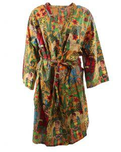 Camelkleurige katoenen kimono met Frida Kahlo print