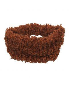 Haarband van kunst-schapenbont in cognac-bruin