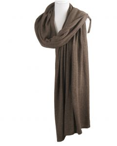 Kasjmier-blend sjaal/omslagdoek in donker-taupe