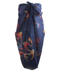 Donkerblauwe sarong met vissenprint