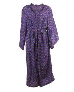 Lange paarse zijden kimono met paisley print