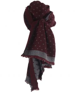 Fijn geweven sjaal in donkerrood met blokjes patroon in grijs