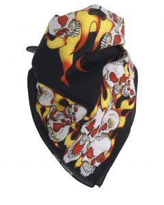 Zwarte boerenzakdoek / bandana met skulls en vlammen