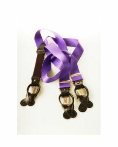 Luxe Profumo  bretels met lederen lussen in paars.
