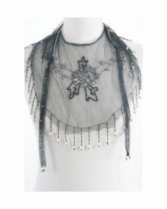 Zwart-zilverkleurige tulen pelerine-kraag