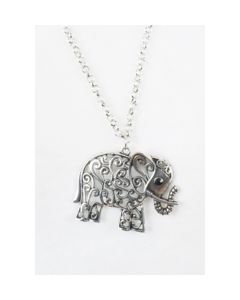 Zilverkleurige halsketting met olifant hanger