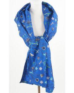 Koningsblauwe stola van 100% natuurzijde