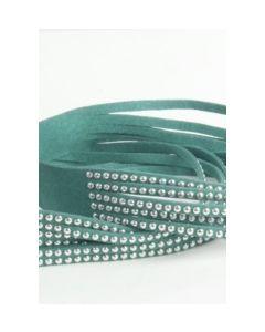 Groene suédine laars riempje met zilverkleurige studs