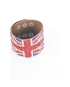 Rode armband met strass-steentjes met union jack motief