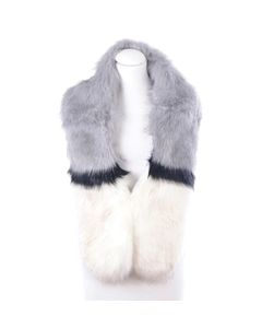 Ivoor, grijs en zwarte gemêleerde faux fur kraag / sjaal