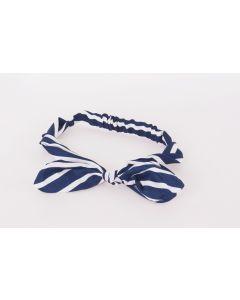 Blauw/witte rabbit bow haarband