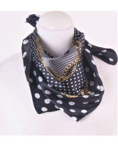 Satijnen sjaal in zwart - wit met goud