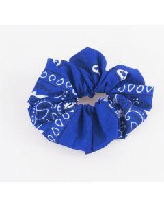 Kobaltblauwe boerenzakdoek scrunchie