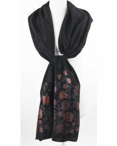 Zwarte taft stola met jaquard geweven bloempatroon