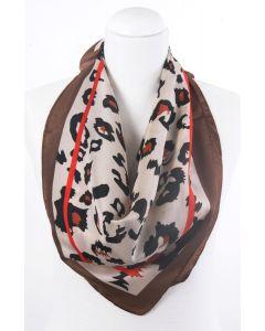 Bruine zijdeblend sjaal met panterprint