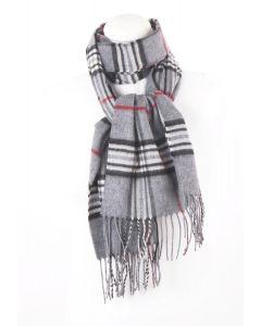 Grijze ultra zachte sjaal met ruiten