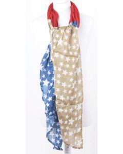 Grote lichtgewicht sjaal met witte sterrenprint