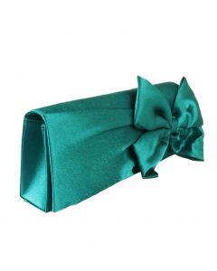 Emerald-groene satijnen avondtasje met strik