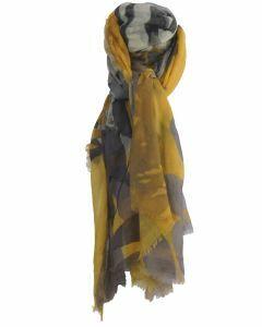 Wol-zijde blend sjaal met zebra afbeelding