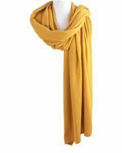 Kasjmier-blend sjaal/omslagdoek in okergeel