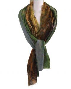 Wollen mousseline schilderij-sjaal met afbeelding van '' Olijfbomen''